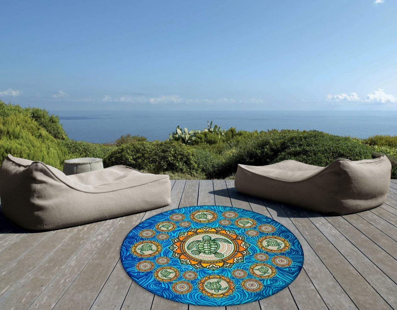 Sea Turtle Mandala Beach Large ROUND Tapestry by Artist Dan Morris
