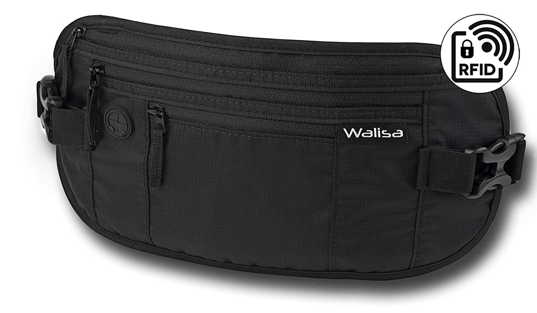 Walisa Flache Bauchtasche / Geldgürtel / Hüfttasche mit RFID Blocker für Damen und Herren in grau / Gürteltasche zum Sport, Reisen und Joggen, Money Belt (Grau)
