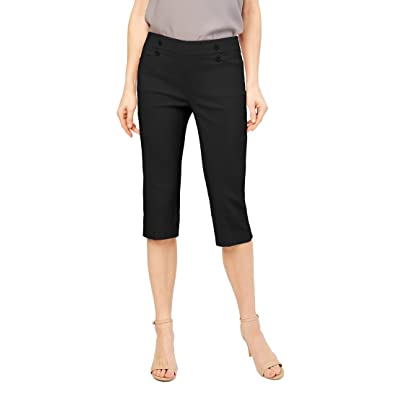 89th + Madison Women's Millennium Stretch Button Front Easy Fit Capri Black at Women's Clothing store