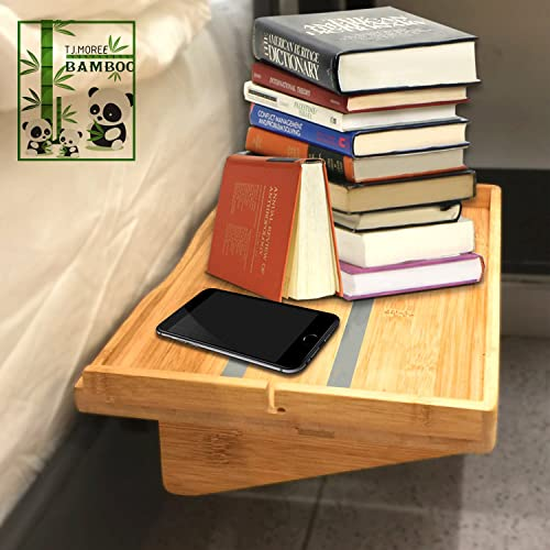 Bedside Caddy Table Shelf Organizer Non-slip Bamboo Floating Nightstand for Bunk Beds, College Dorms, Lofts Beds, Headboards, Nighstands by TJ.MOREE