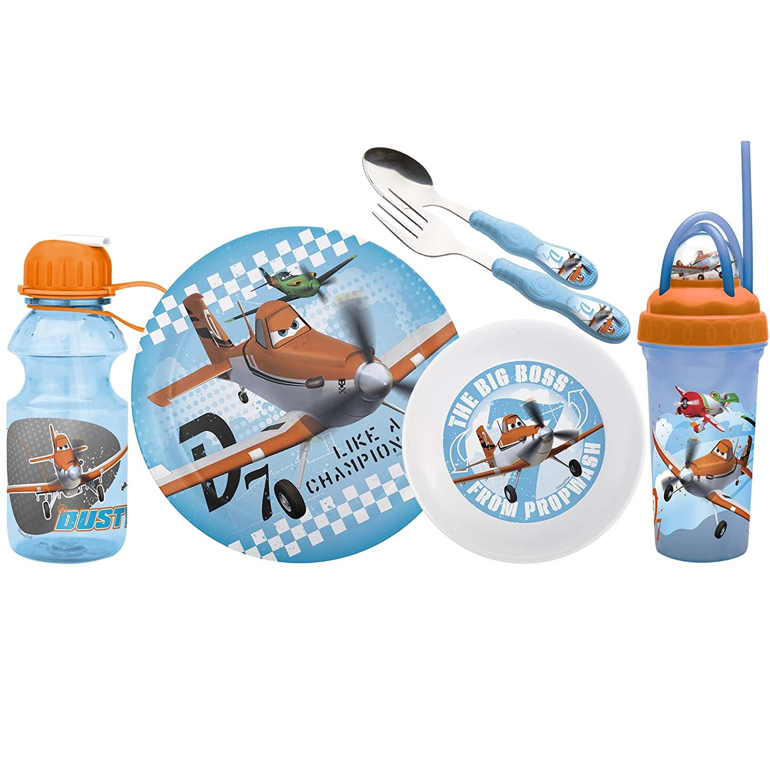 Zak! Designs Mealtime Set - Plate - Bowl - Tumbler - Water Bottle - Fork & Spoon with Disney Planes Graphics - BPA-Free