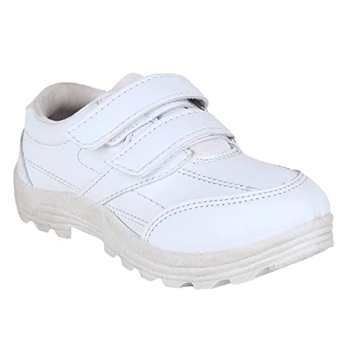 fae7ad19cc5 FUEL Kid s White Velcro Closure Formal Comfortable Soft School Shoes for  Boy s