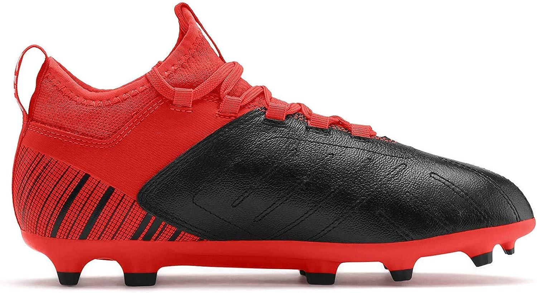 PUMA One 5.3 FG/AG Jr Kinder Low Boot Fußballschuhe Schwarz-Rot-Silber
