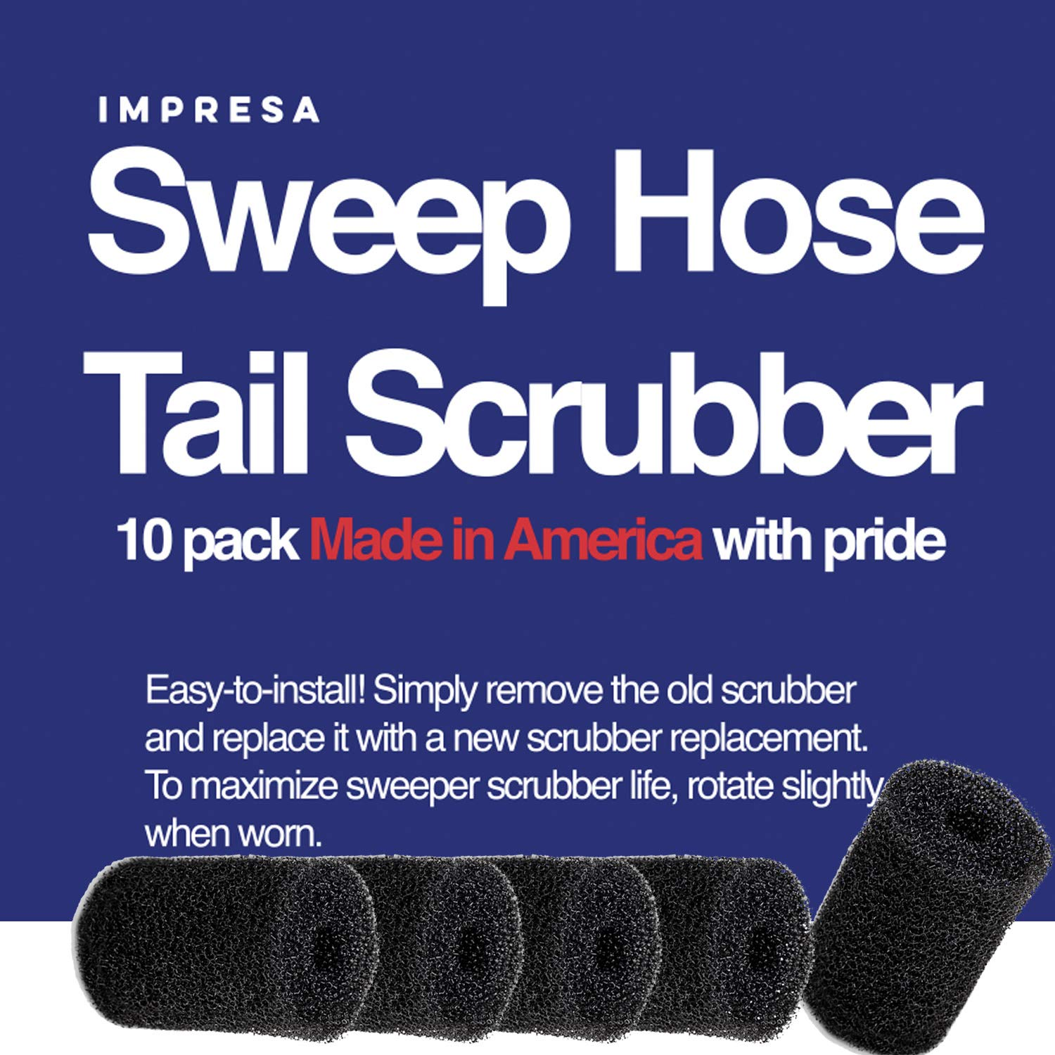 Impresa Products 10-Pack Polaris Tail Scrubber Replacement for Vac-Sweep Pool Cleaner Hose Tail - Fits 180, 280, 360, 380, 480, 3900 Sport - Made in The USA by Impresa Products