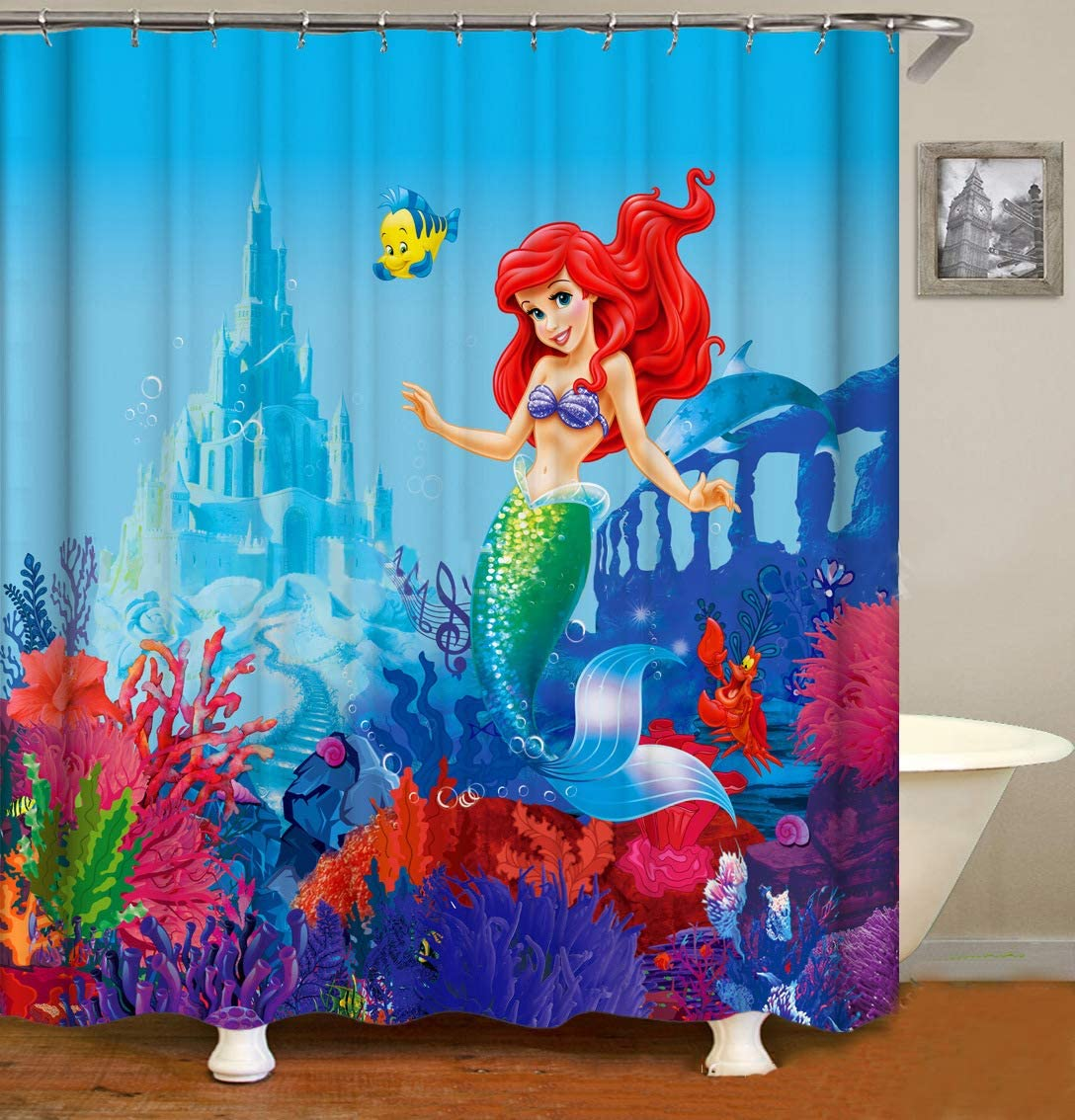 Cortinas de Ducha Disney diseño de Sirena con 12 Ganchos,Cortina de Ducha de Tejido Prueba de Moho Impermeable al Baño (180X180cm)