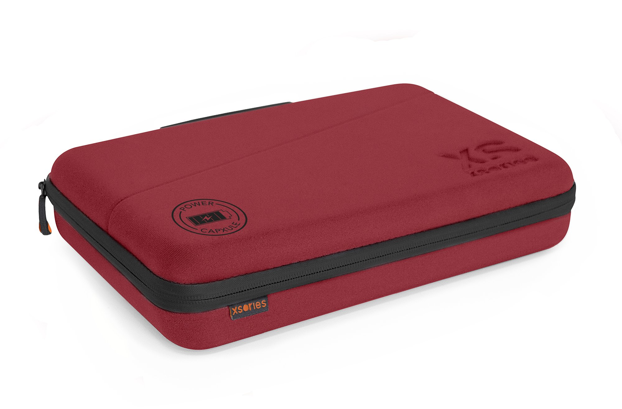 XSories Large Power Capxule GoPro Case with Power Bank Charger, Pre-Cut Foam Inlays for GoPro Accessories (Burgundy)