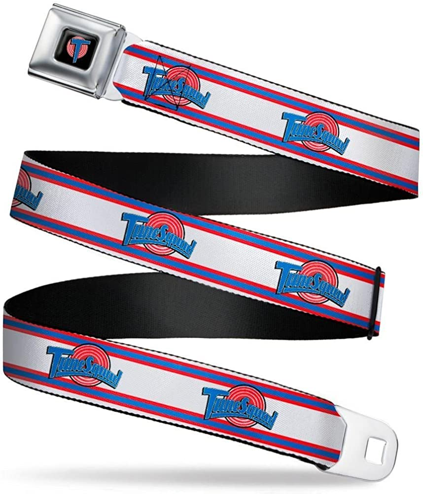 Buckle-Down Mens Seatbelt Belt Looney Tunes Space Jam Kids Squad Logo Stripe White//red//Blue 1.0 Wide-20-36 Inches