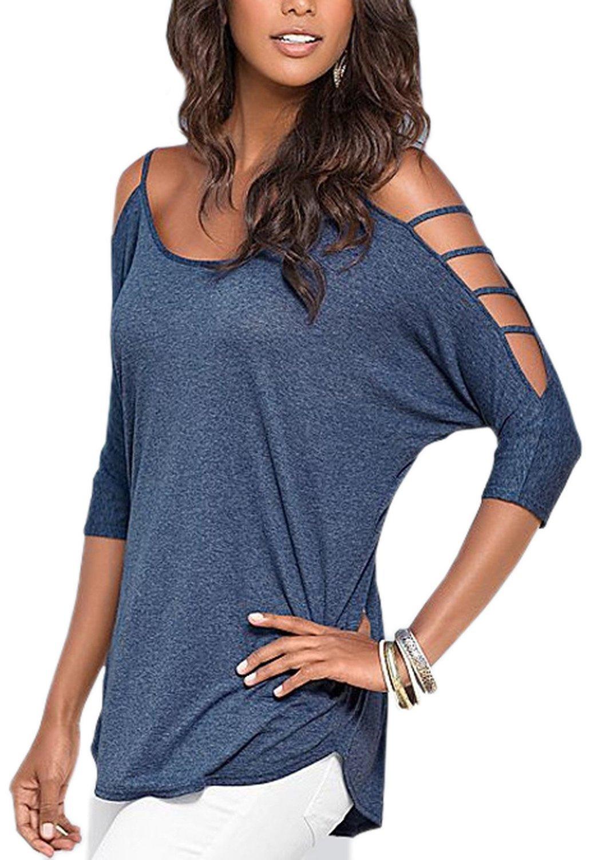 bluee Century Star Women's Casual Off Shoulder Three Quarter Top Shirt Blouse