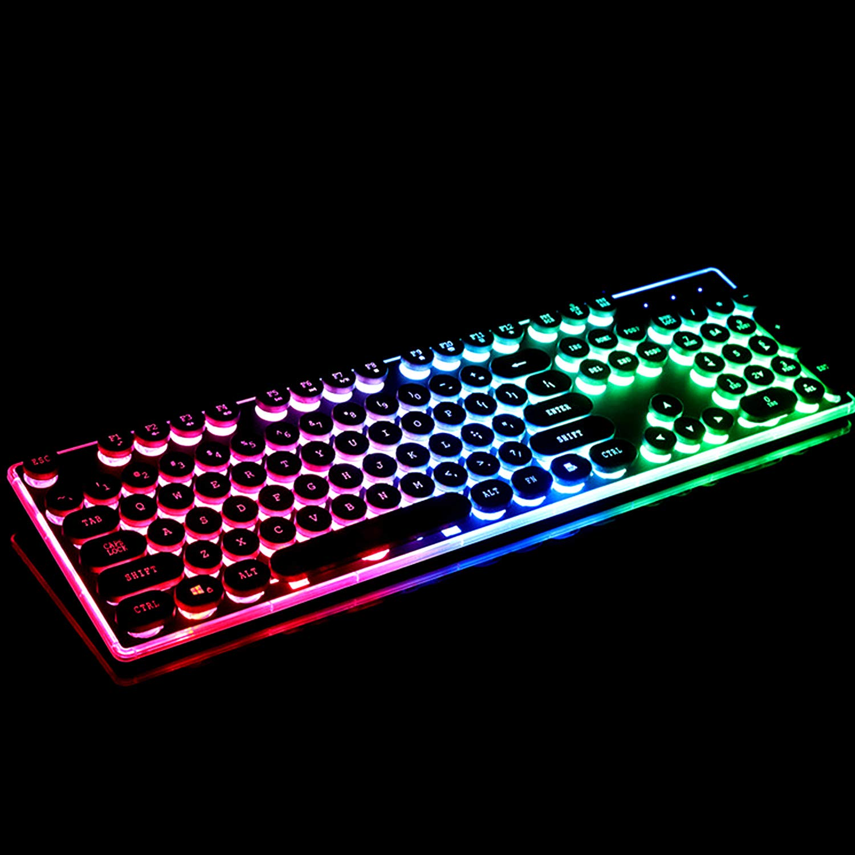 Vococal Retro Estilo de máquina de Escribir con Cable Retroiluminado Gaming Teclado Teclado Teclado Teclado con 108 Teclas para PC PC portátil de Escritorio ...