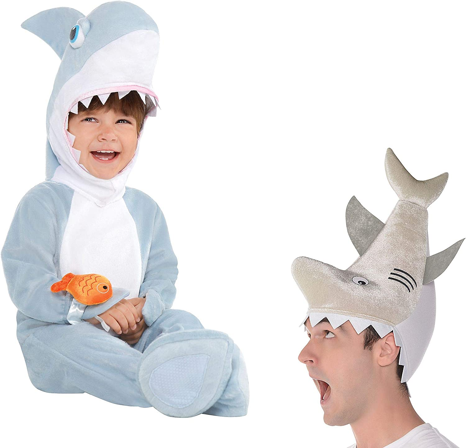 Party City Parent and Baby Shark Costumes, with a Shark Jumpsuit and Matching Adult Hat
