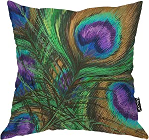 Moslion Throw Pillow Cover Peacock Feathers 18x18 Inch Animal Beautiful Colorful Digital Paint Shiny Green Purple Square Pillow Case Cushion Cover for Home Car Decorative Cotton Linen