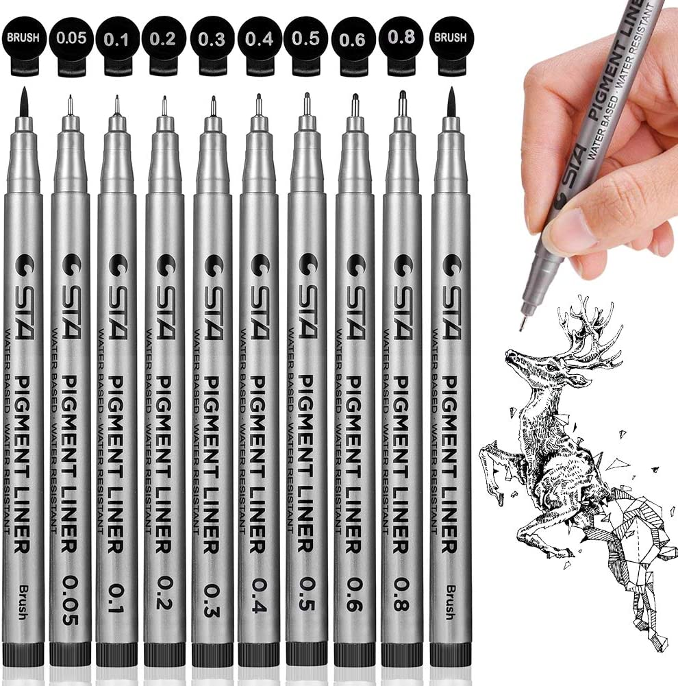 Precision Black Micro-Pen Fineliner Ink Pens, Waterproof Archival Ink Micro-Line Pens, Illustration Pens, Multiliner Pens for Art Watercolor, Sketching, Anime, Manga, Technical Drawing