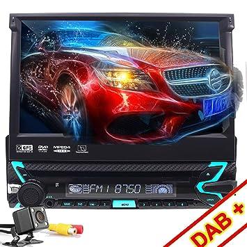 """1 DIN Reproductor DVD para Coche, FOIIOE 7"""" Pantalla Táctil Bluetooth Navegador GPS Radio"""