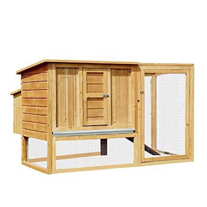 PawHut Gallinero Exterior Madera Integrado Run Limpieza Bandeja Casa para Gallinas Jaula para Animales Pequeños Pollo