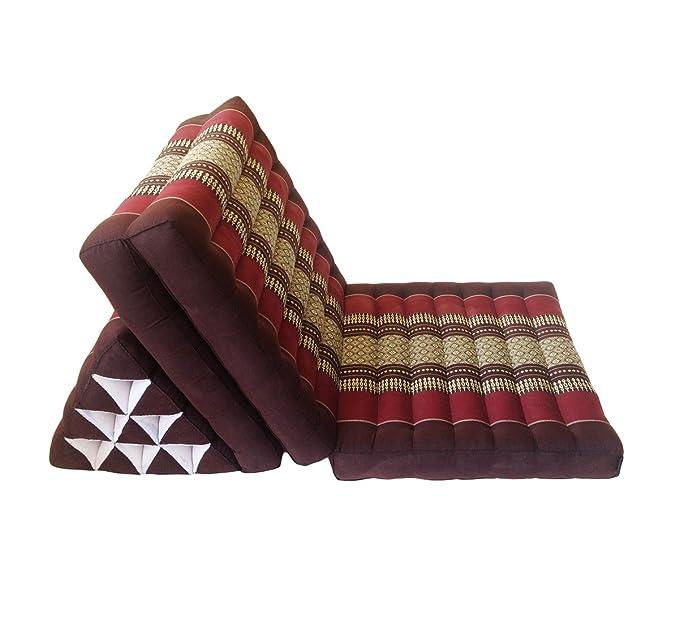 Colchón de meditación tailandés tradicional reclinable, con cojín de respaldo triangular de estilo oriental y fibra kapok para yoga, masajes o relajación, ...