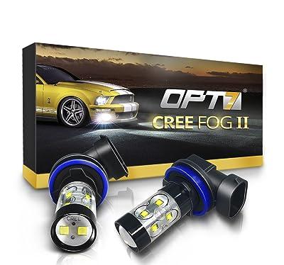 OPT7 CREE H11 LED DRL 5000K Bright White Fog Light Bulbs
