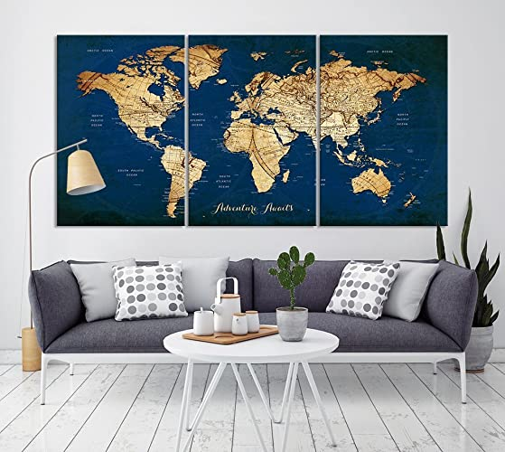 Amazon vintage world map canvas print for home decoration and vintage world map canvas print for home decoration and living room decor extra large navy gumiabroncs Image collections