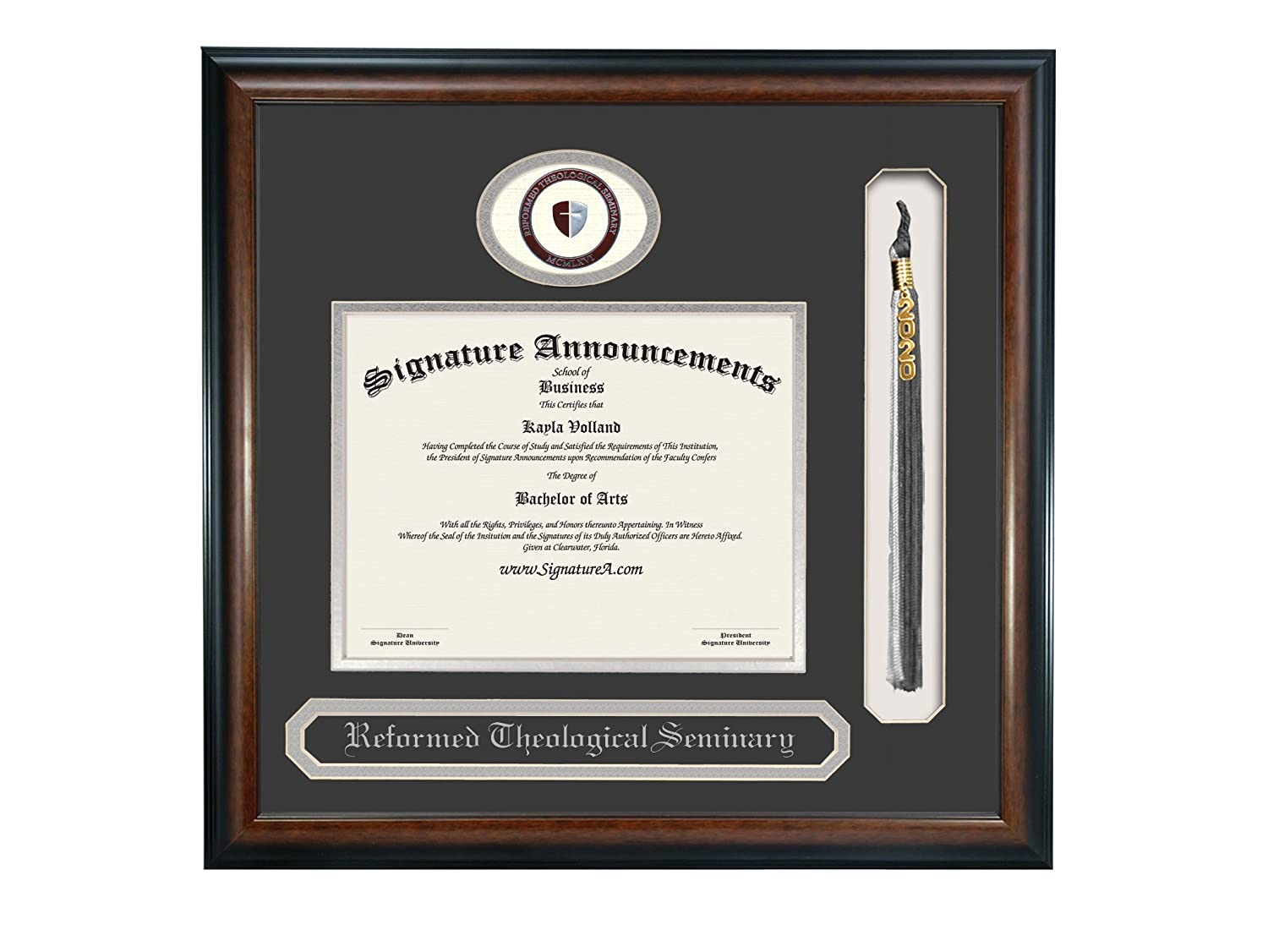 Signature Announcements Reformed Theological Seminary Sculpted Foil Seal Name /& Tassel Graduation Diploma Frame 20 x 20 Matte Mahogany