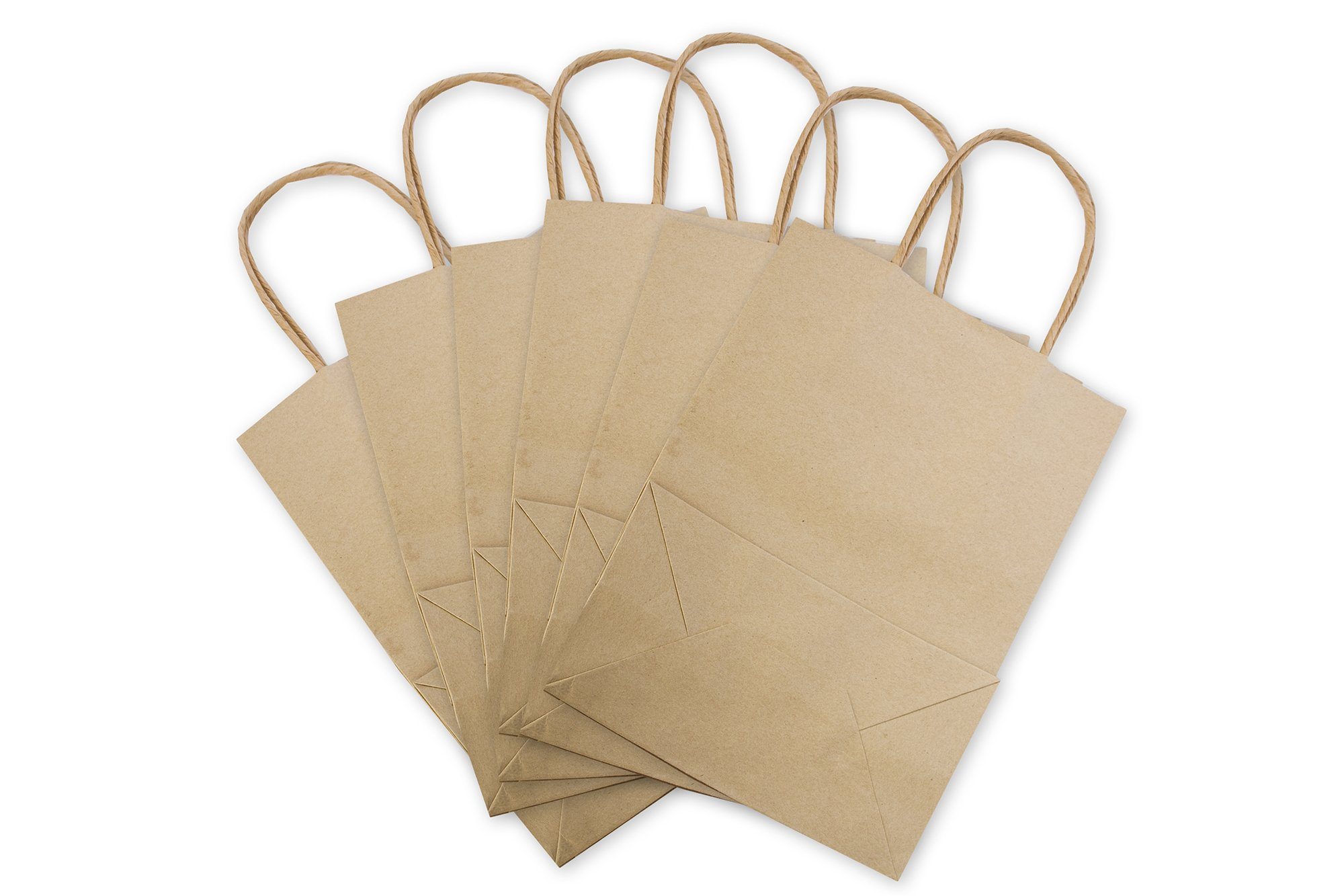 100 pcs vintage brown kraft paper bags with handles handle for Handles for bags craft