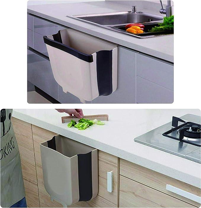 JMGoodstore Cubos de Basura Plegable Colgando para la Cocina,Basura Plegable Cubo Basura Extraible peque/ño y Compacto Contenedor para Organizador de Armario de Cocina Blanco