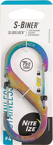 Nite Ize LSB4-07-R3 S-Biner SlideLock Stainless Steel Dual Locking Carabiner, 4, Spectrum