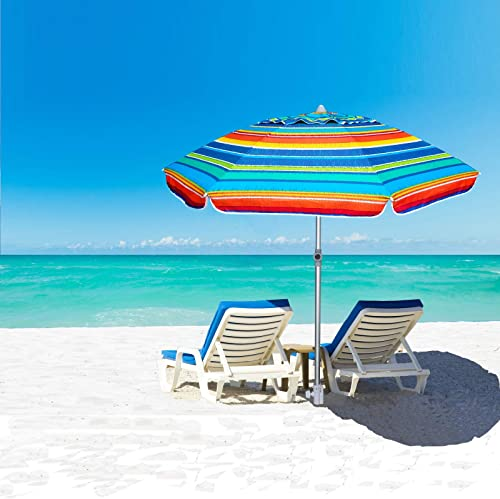 AMMSUN 7ft Beach Umbrella Adjustable Height with Sand Anchor Air Vent Zinc Tilt Silver Coating Inside Telescoping Pole Multicolor Green