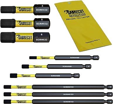 32 mm, 89 mm, 152 mm, H4, H5, H6, HEX, para Dewalt Milwaukee Bosch Makita y m/ás Juego de 9 puntas de destornillador de impacto magn/ético H4 H5 H6 SabreCut SCRK9HEX