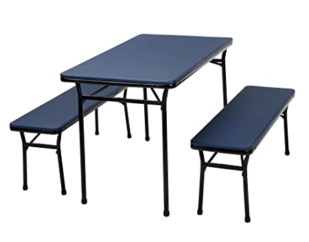 COSCO 3 Piece Indoor Outdoor Table and 2 Bench Tailgate Set, Dark Blue Top, Black Frame