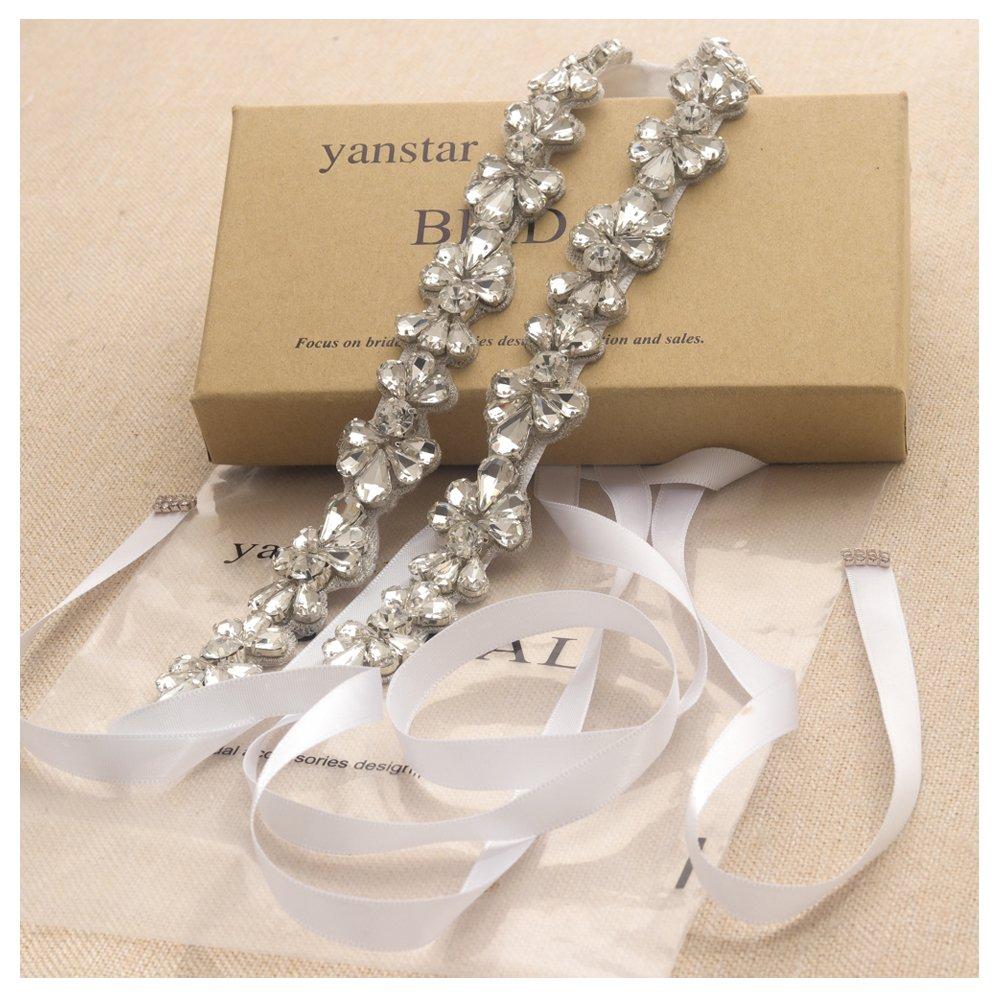 Yanstar White Ribbon Wedding Bridal Belt and Sash Silver Rhinestone Clear Crystal For Womens Dress Prom Belt