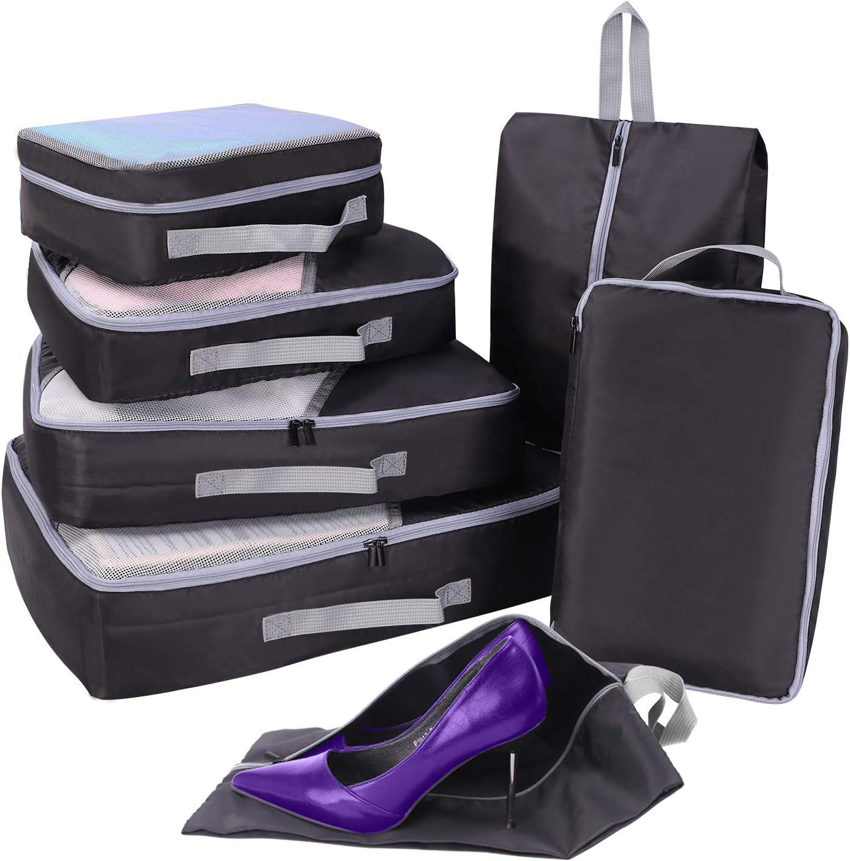 Organizador Maleta Viaje, 7 Set de Organizador de Equipaje, Faxsthy Organizador de Maleta con 2 Bolsas de Zapatos de Varios Tamaños (Negro)
