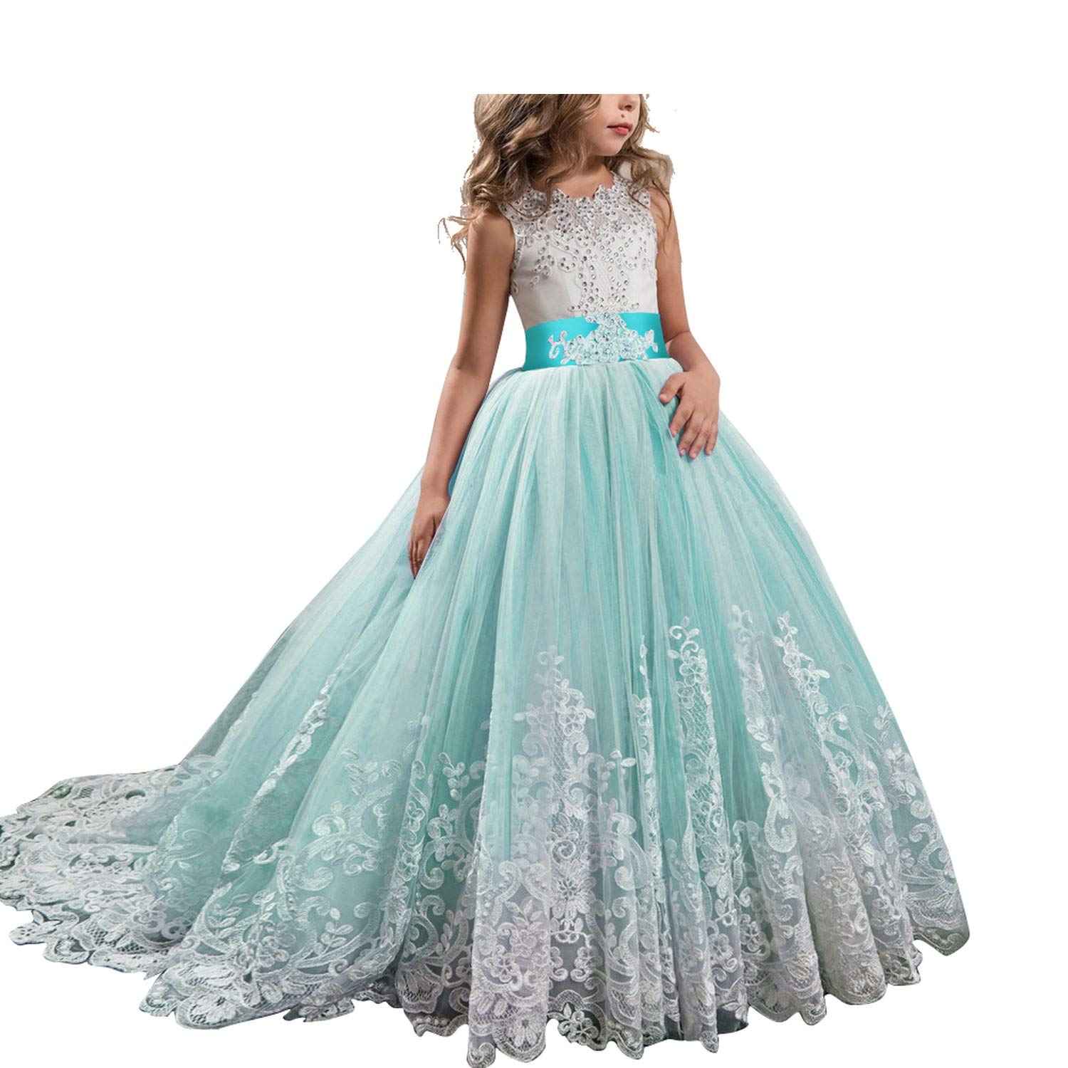 Childrens Dresses High-Grade Lace Girls Flowers Party Costume for Kids Girl Pageant Dance Ball Gown Prom Birthday Dress,Green,10