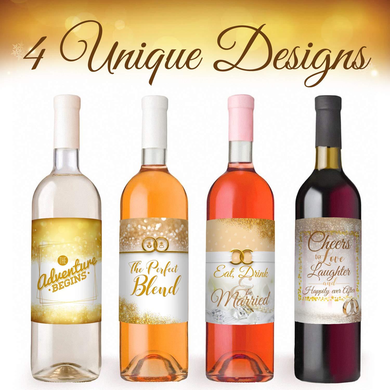 Wedding Wine Bottle Labels 4 Pack   Wine Bottle Labels for Bridal, Bachelorette, Weddings   Waterproof, Weather Proof   4 x 5 Inches
