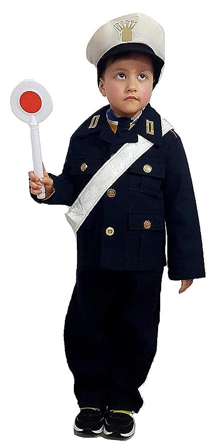 d40a70a92ce8 PICCOLI MONELLI Costume Vigile Urbano Bambino 2 Anni Vestito Poliziotto di  Carnevale con Accessori Paletta Stop