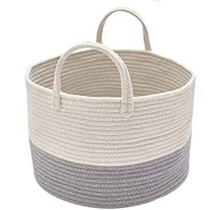 DOKEHOM Large Storage Baskets -15.7 Inches(D) x 9.8 Inches(H)- Cotton Rope Basket Woven Baby Laundry Basket with Handle for Diaper Toy Cute Neutral Home Decor (White/Grey, M)