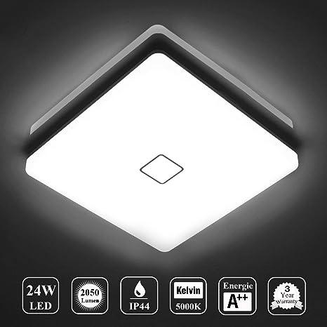 Öuesen LED 24W lámpara de techo resistente al agua moderna LED luz de techo Cuadrado delgada 2050lm Blanco frío 5000K para baño Dormitorio Cocina Sala ...