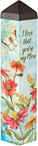 Studio M Flowers for Mom Art Pole Outdoor Decorative Garden Post, Made in USA, 20 Inches Tall