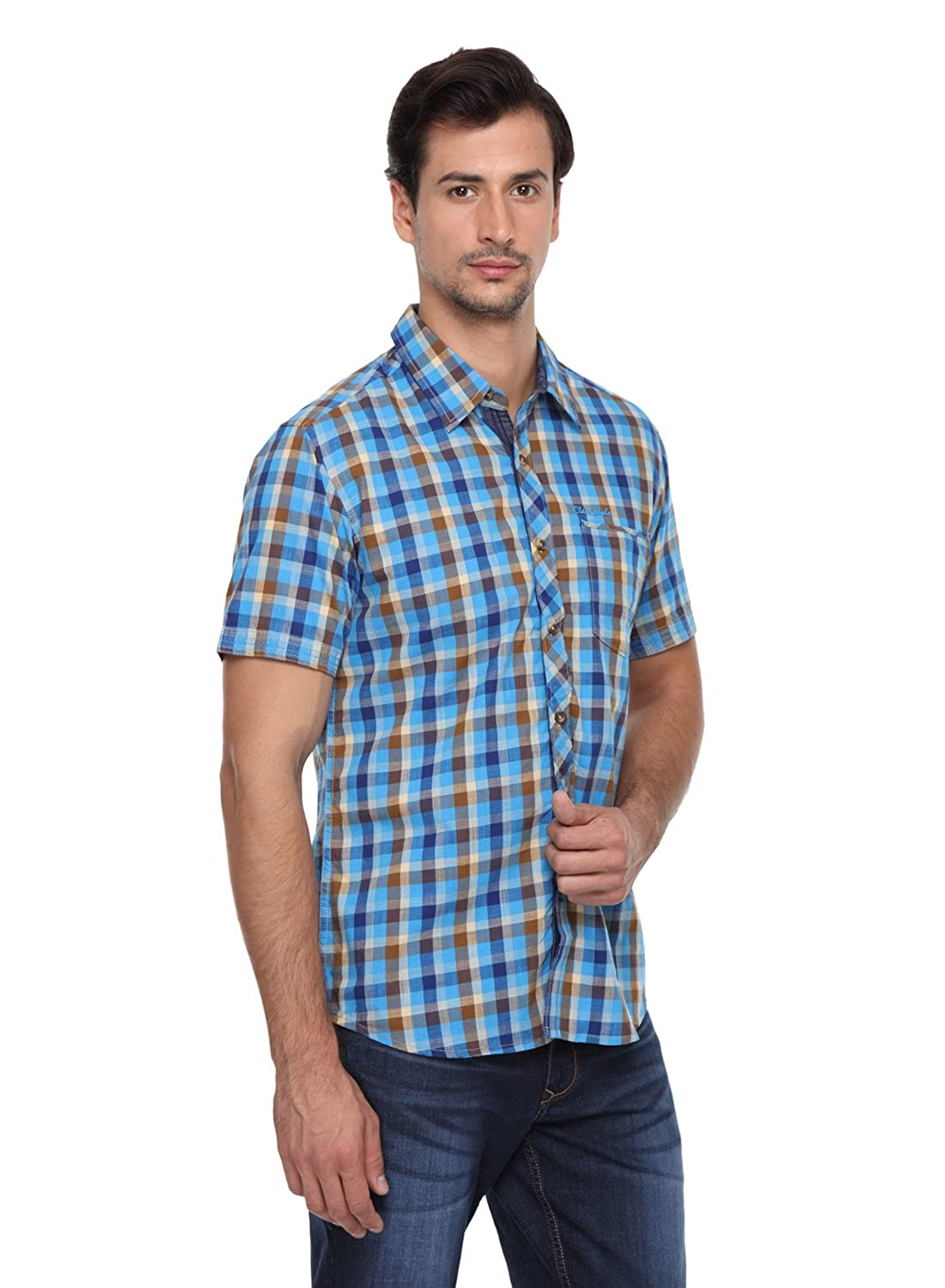 eaf3529f05 Classic Polo 100% Cotton Men's Medium Checks Half Sleeves Slim Fit Casual  Shirt: Amazon.in: Clothing & Accessories