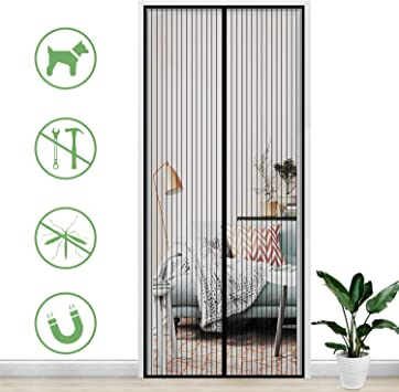 Gimars Cortina mosquitera doble magnetica puerta exterior sin tornillos, Mosquitera puerta corredera lateral con iman para terraza/habitacion Fácil de instalar (110 * 220): Amazon.es: Bricolaje y herramientas