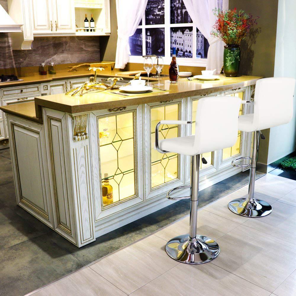 Beige POPSPARK 2/×Sgabelli da Bar in Finta Pelle con braccioli e schienali Sgabelli da Cucina girevoli per la Colazione Nuova Sedia Regolabile in Altezza