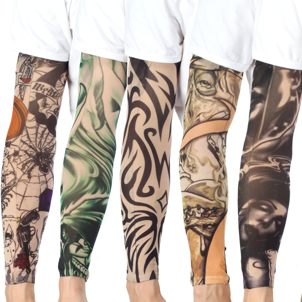 20PCS Set Arts Fake Temporary Tattoo Arm Sunscreen Sleeves - AKStore - Designs Tiger, Crown Heart, Skull, Tribal and Etc by Akstore (Image #5)