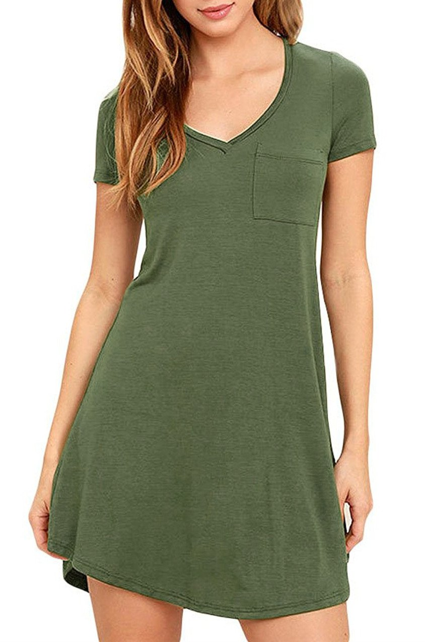 Eanklosco Womens Casual Short Sleeve Plain Pocket V Neck T Shirt Tunic Dress (Green, S)
