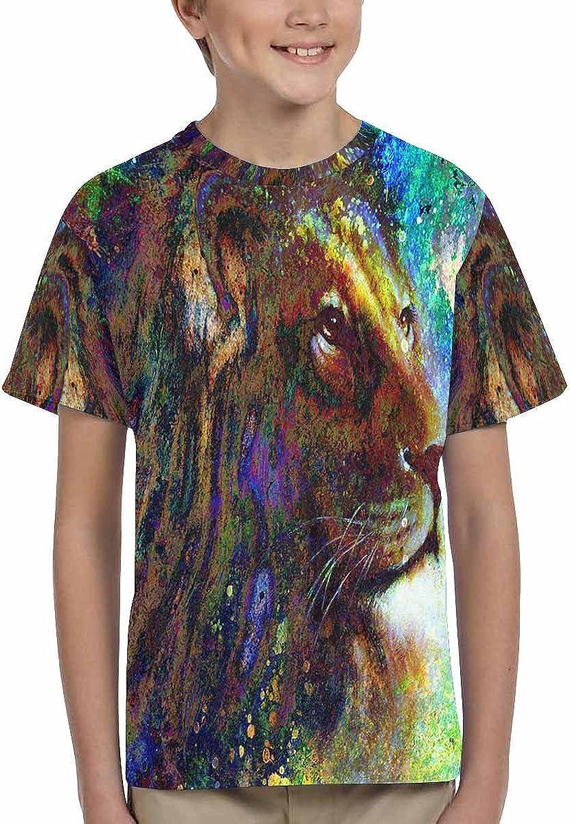 XS-XL INTERESTPRINT Abstract Lion Face Portrait Childs T-Shirt