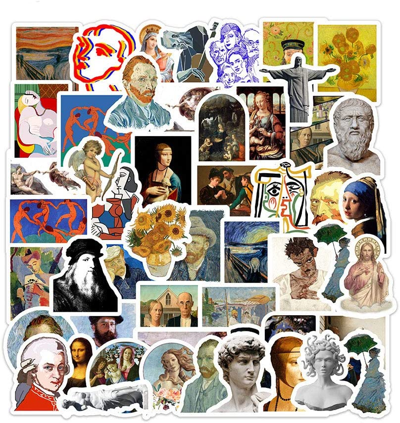 DOFE 50 Famous Painting Stickers,Car Stickers 50 pcs, Laptop Stickers,Motorcycle Bicycle Luggage Decal Graffiti Patches for Teens. (50 Famous Painting)