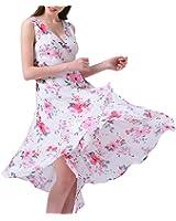 Snmk summer dress mulheres praia floral chiffon dress impressão v pescoço vestidos de festa sexy boho