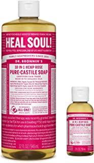 product image for Dr. Bronner's - Pure-Castile Liquid Soap (32 ounce and 2 ounce Bundle) - Made with Organic Oils, 18-in-1 Uses: Face, Body, Hair, Laundry, Pets and Dishes, Concentrated, Vegan, Non-GMO (Rose)