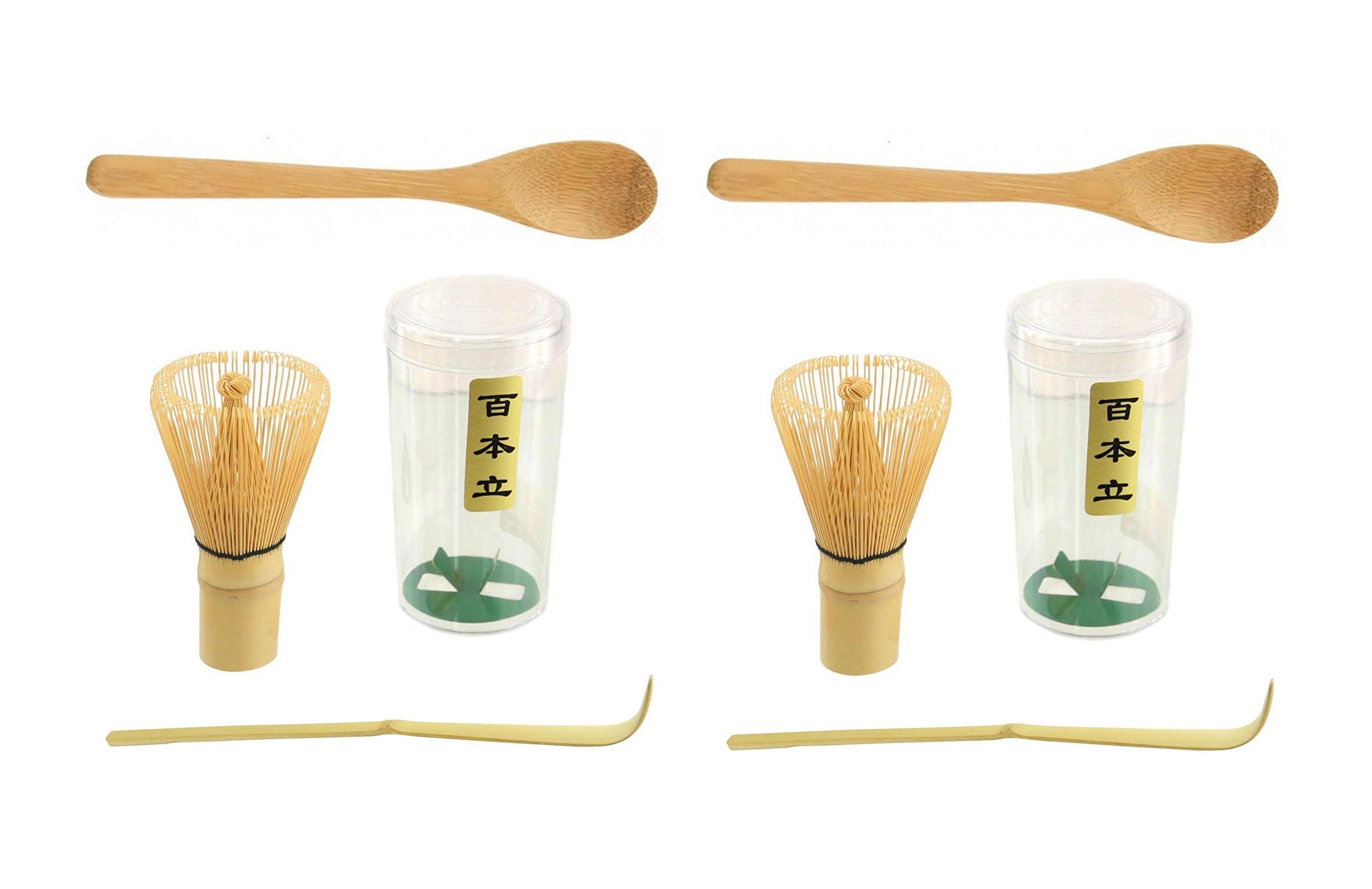 JapanBargain Brand S3702+3805, Bambooo Matcha Tea Ceremony Set 100 Prong Chasen Whisk Tea Scoop Chashaku Tea Spoon, 2 Set
