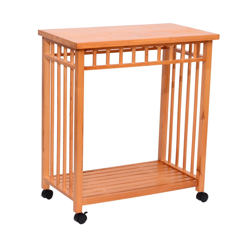 """Amazon Hom 32"""" Rolling Wooden Storage Cart Kitchen Trolley"""
