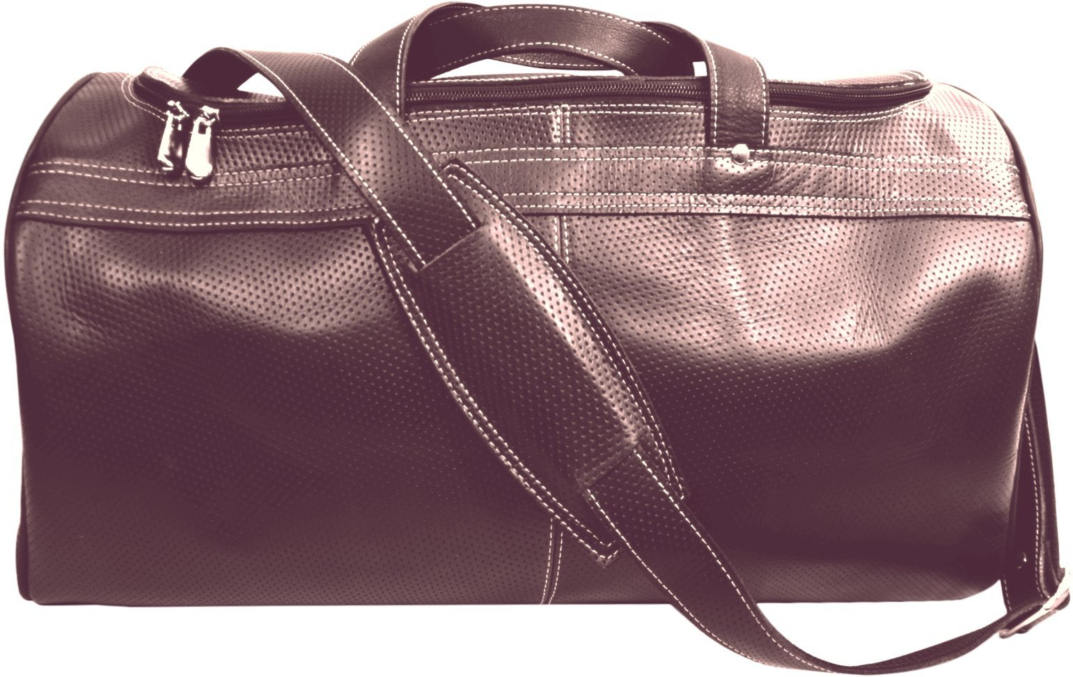 Duffle Bag - Leather-- Medium Perforated Leather Brown by Deoni Leather Factory Direct