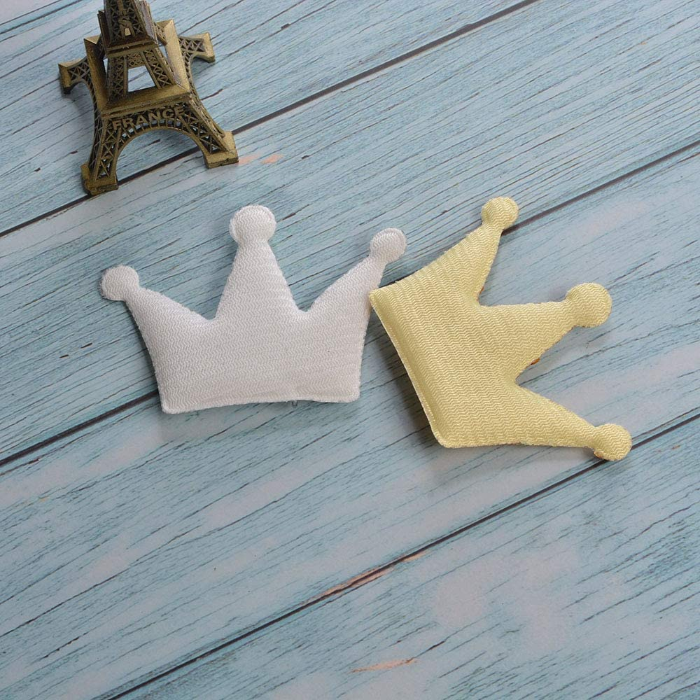 Wixine 20Pcs Gold Silver Crown Sequins Patches Iron on Sew on Appliques DIY Clothes Bags Badge