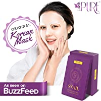 LA PURE Korean Face Mask - Hydrating Sheet Mask, Beauty Snail Mask, Anti-Wrinkle Korean Skin Care, Anti-Aging Sheets…